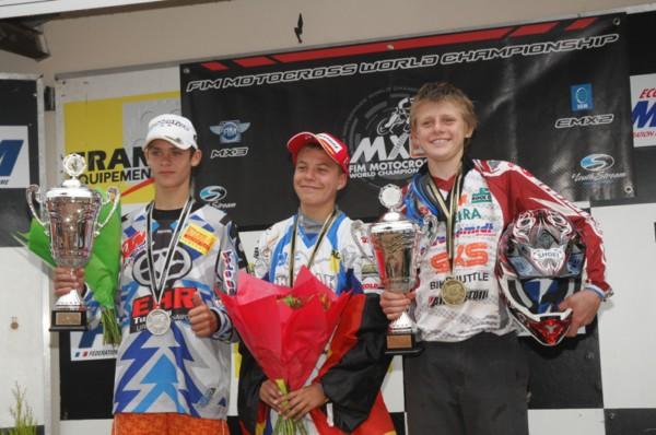 Podium FIM Junior World Championship 2010  Tim Gasjer, Henry Jacobi, Stefan Ekerold
