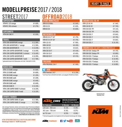 KTM Preise 2017 2018