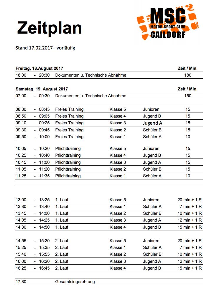 Zeitplan Gaildorf BW Cup